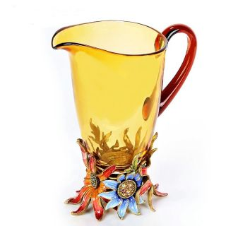 JAY STRONGWATER FLORAL AMBER GLASS PITCHER VASE SWAROVSKI NEW IN THE
