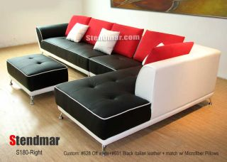 3pc New Euro Design Leather Sectional Sofa Chaise S180D