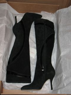 Via Spiga Perry Black Suede Knee High Boots Womens Size 7 5 New in