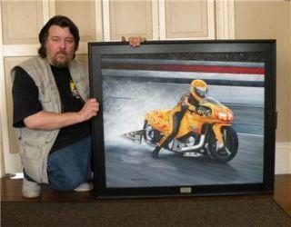 Original Oil Painting Motorcycle Art NHRA Pro Drag Race 30x36 by J