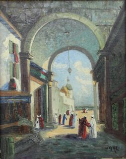 Arabic Islamic Ottoman Painting Denmark Sign Jarl Axel Oriental