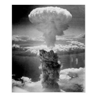 The mushroom cloud produced by the atomic detonation at Nagasaki
