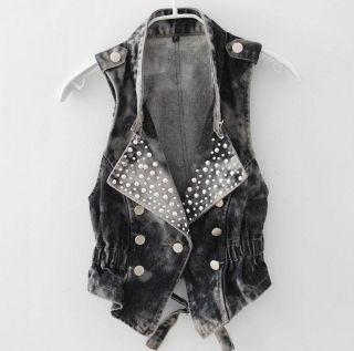 Beads Denim Vest Ladies Jean Waistcoat Outerwear Jean Vest NPT