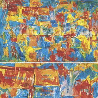 63x39 Map by Jasper Johns United States America Canvas