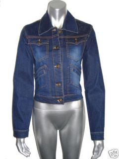 Ladies Deep Blue Denim Jean Jacket s M L XL XXL