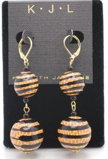 Kenneth Jay Lane Black Orange Safari Dangle Earrings For Pierced Ears