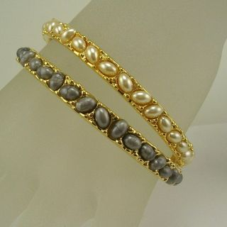 Kenneth Jay Lane Cabochon Bangle Bracelets Set of 2