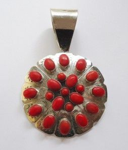 Jay Kings DTR Sterling Silver Red Coral Cluster Style Pendant