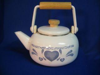 Blue Hearts Enamelware Tea Kettle Wood Handle NOB Jay Imports