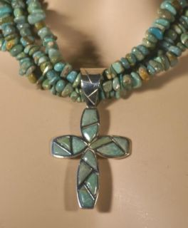 Jay King MINE FINDS Green Turquoise Cross Necklace & Pendant Sterling