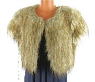 Jennifer Lopez New Large Gray Fox Faux Fur Jacket Bolero Short