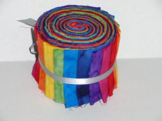 Strips Batik Bright Primary Colored Jelly Roll Approx 1 1 8 Yds