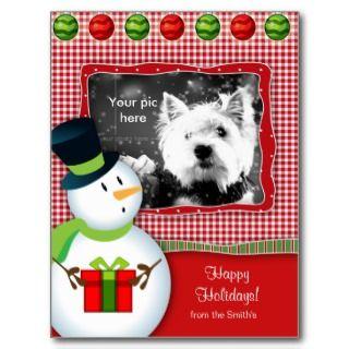 Christmas Snowman Postcard Gingham Check