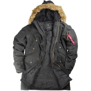 Alpha Industries N 3B Slim Fit Cotton Parka Black Olive Green Spotted