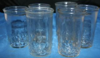 Vtg Jelly Jars Cheese Glasses Juice Stars Set of 6