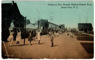 Jersey City NJ Hudson County Park Payground Postcard