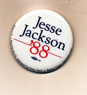 Jesse Jackson for President Campaign Button 1988