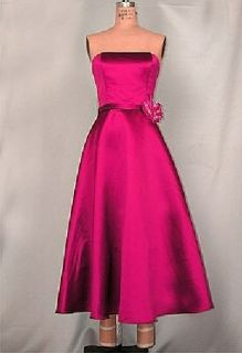 Jessica McClintock Retro Fuchsia Tea Length Rose Satin Dress Gown Size