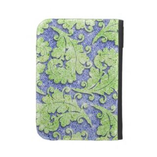 Girly paisley pattern, green & blue glitter photo kindle folio cases