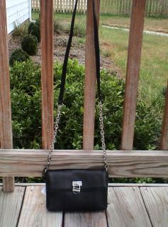 Calvin Klein Leather Chain Crossbody Black Messenger Bag Purse Handbag