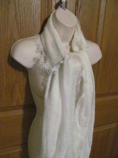 Ralph Lauren Womens Scarf Wrap Shawl Ivory White Wool Blend New