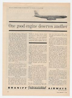 1962 Braniff International Airways Jet Engine Ad