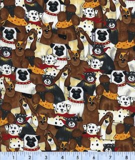 Timeless Treasures Puppy Dogs on Black Fabric Fat Quarters or Yards