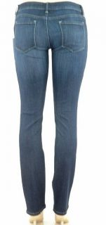 Level 99 Premium Denim Slim Skinny Straight Leg Jeans Dark Navy Bleach