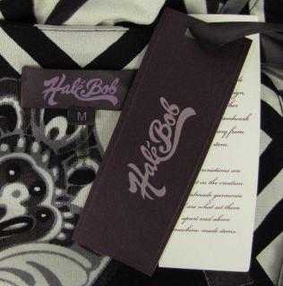 NWT Hale Bob Floral Silk Top M Black White Drawstring Waist Beaded LS