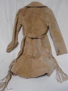Jennifer J Tan Leather Coat Jacket Womens M Vintage Fringe as Is Wide