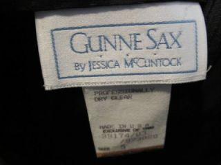 Vintage 1980s Gunne Sax by Jessica McClintock black & white strapless