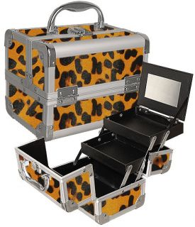 Cosmetic Organizer Mirror Trays Leopard Jewelry Box Kit TS78L