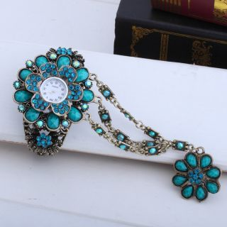 Blue Flower Top Resin Rhinestone Wristwatch Bracelet Bangle Ring Charm