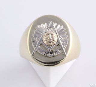 Past Master Custom Made Masonic Ring 10K Yellow White Gold Solid Back