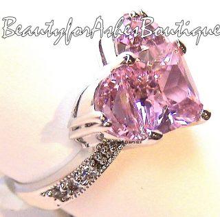 Jewelry Pink Heart Ring Valentine Clear Mini CZ Rhodium