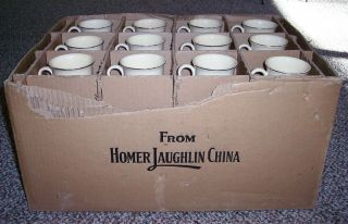 Homer Laughlin China Box w 36 Ivory Gold Tom Jerry Mugs