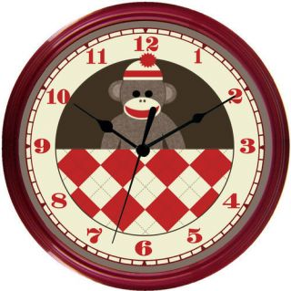 Custom Sock Monkey Red Green Pink Blue Nursery Clock
