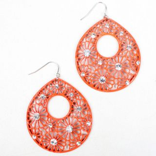 Red Crystal Rhinestone Flower Retro Tear Drop Dangle Earrings