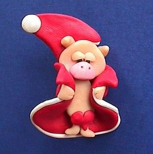 Pin Funny Pink Pig in A Blanket Santa Vtg Xmas Holiday Brooch Jewelry