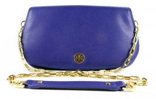 Tory Burch Robinson Logo Clutch Cobalt Blue Handbag New