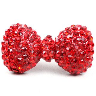 Red Rhinestone Crystal Bling Cute Lady Girl Large Bow Adjustable Ring