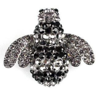Black Rhinestone Bling Elastic Stretch Fashion Ring