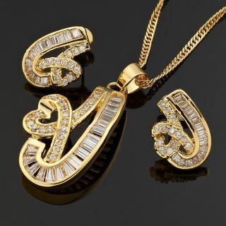 Jewelry Set Fine Topaz Yellow Gold GP Pendant Necklace Neck Chain Stud