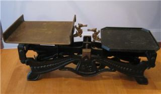 Antique Vintage Ornate Cast Iron Brass Balance Postal Scales with