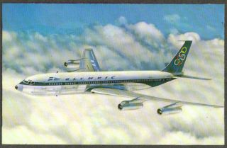 Olympic Airways Boeing 707 320 Super Fan Jet Postcard