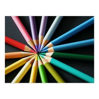 Print of colored pencils arrainged to form a color wheel. Abstract