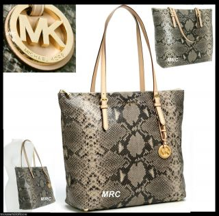 Michael Kors Jet Set Item LG Snake Python Sand TOPZIP Shoulder Bag