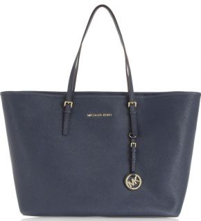 New Michael Kors Medium Jet Set Saffiano Travel Tote Bag Handbag blue
