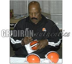 Jim Brown Autographed Cleveland Browns Throwback Mini Helmet w HOF 71