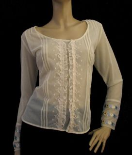 New J Jill M L Stone Sheer Netted Rhinestone Button Ruffle Shirt Top